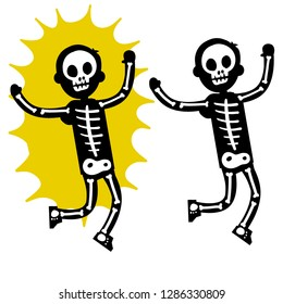 Electric shock. Human powers with a skeleton. Body x-rays. Halloween costume. Yellow flash and skull. Dangerous situation. The problem with high voltage. Defeat the flesh. Cartoon flat illustration