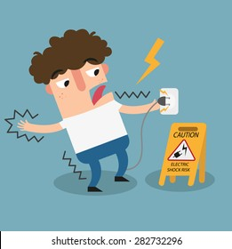 Electric shock risk caution sign.