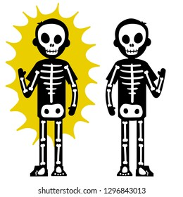 Electric shock. The silhouette of the skeleton and the yellow lightning flash. Halloween costume. Dangerous high-voltage injury. The problem of safety. Human x-ray. Cartoon flat illustration