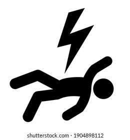Electric shock vector icon, electrocuted person isolated on white background