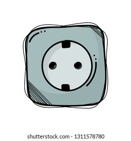 Electric socket doodle. Vector illustration hand drawn in the white background