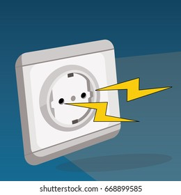 electric socket with lightening coming from the inside