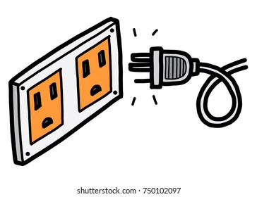 electric socket and plug / cartoon vector and illustration, hand drawn style, isolated on white background.