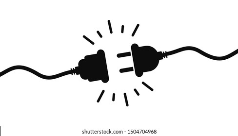 Electric socket with a plug. Connection and disconnection concept. Concept of 404 error connection. Electric plug and outlet socket unplugged. Wire, cable of energy disconnect – stock vector
