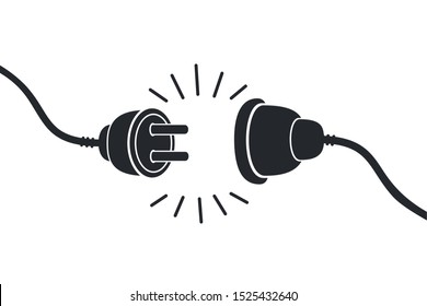 Electric socket with a plug. Connection and disconnection concept. Concept of 404 error connection. Electric plug and outlet socket unplugged. Wire, cable of energy disconnect stock vector