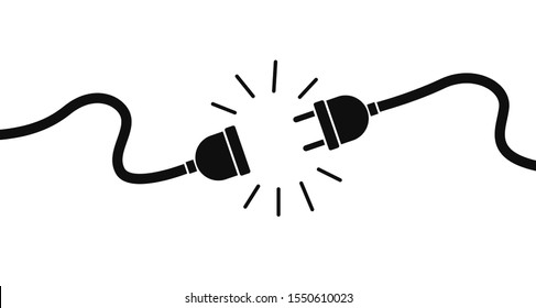 Electric socket with a plug. Connection and disconnection concept. Concept of 404 error connection. Electric plug and outlet socket unplugged. Wire, cable of energy disconnect – stock vector. EPS 10