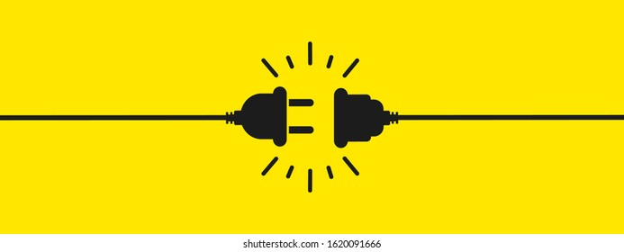 Electric socket with a plug. Connection and disconnection concept. Concept of 404 error connection, page not found. Electric plug and outlet socket unplugged. Wire, cable of energy disconnect – stock
