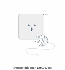 Electric socket unplugged, 404 error page, disconnection, internet connection problem. Flat line vector illustration on white.