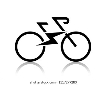 Electric sport bike bycicle e-bike icon with flash sign Modern ecological way of transportation and healthy lifestyle sign isolated on white background2