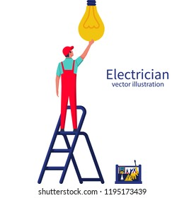 Electric is standing on the ladder screwing the lamp. Vector illustration flat design. Connecting power. Vector flat design. Professional electrician. Man in uniform at high-altitude work.