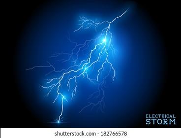 Electric Storm - vector lightning bolt.