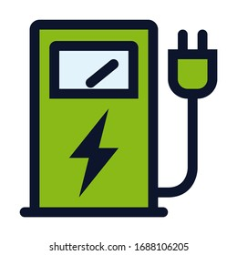 Electric Supply Station. Simple Vector Color Icon.