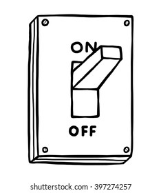 electric switch / cartoon vector and illustration, black and white, hand drawn, sketch style, isolated on white background.