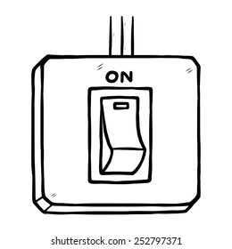 electric switch on / cartoon vector and illustration, black and white, hand drawn, sketch style, isolated on white background.