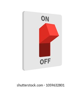 Electric switch turned on, flat style, isolated on white background. Vector illustration