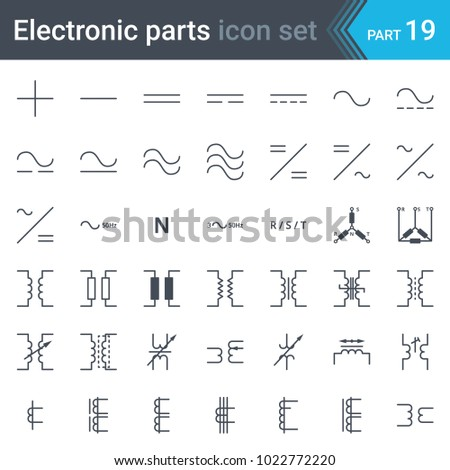 Electric Symbols Set Current Threephase Connections Stock Vector
