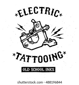 Electric tattooing emblem. Logo vector