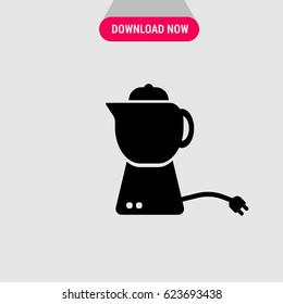 Electric Teapot Vector Icon, The symbol of kettle with electric cord.  Simple, modern flat vector illustration for mobile app, website or desktop app