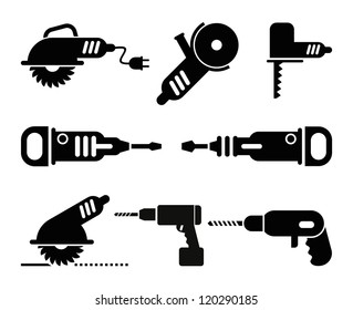 Electric Tools - set of isolated vector icons on white background.