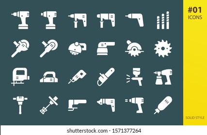 Electric tools solid icons set. Set of electric hammer drill, hand construction mixer, cordless screwdriver, power tools, metal cutter solid vector icons