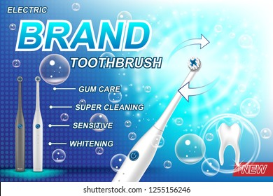 Electric toothbrush ads concept. Tooth model and product package design for poster advertising and marketing. 3d Vector toothbrush illustration.