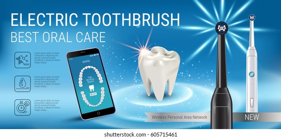 Electric toothbrush ads. Vector 3d Illustration with vibrant brush and mobile dental app on the screen of phone. Horizontal banner with high tech products.