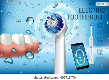 Electric toothbrush ads. Vector 3d Illustration with vibrant brush and mobile dental app on the screen of phone. Horizontal composition with high tech products.