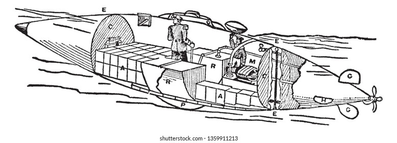 Electric Torpedo Boats are small vessels built for speed and fitted with tubes for firing torpedoes by either compressed air or gunpowder, vintage line drawing or engraving illustration.