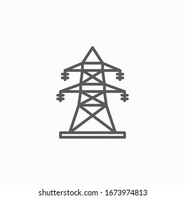 electric tower icon, high voltage power vector