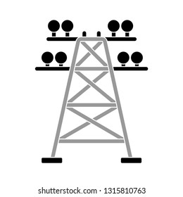 electric tower icon, transmission tower illustration - vector electricity tower, voltage power isolated. power icon