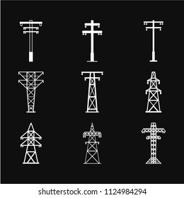 Electric tower icon vector in trendy flat style isolated on background