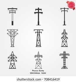 Electric tower icons vector