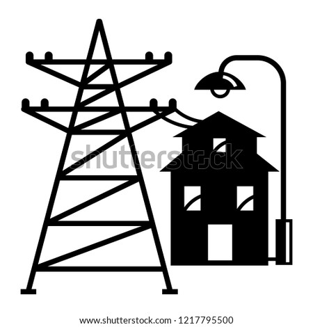 Electric Tower Near House Icon Simple Stock Vector Royalty Free