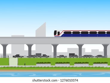 Electric train(BTS) with businessman walking in park on architecture and sky background.
