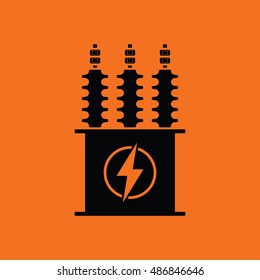 Electric transformer icon. Orange background with black. Vector illustration.