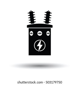 Electric transformer icon. White background with shadow design. Vector illustration.