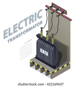 Electric transformer isometric building info graphic. High-voltage power station. Old plant architecture. Scientific illustration. Pictogram industrial electricity set. Flatten isolated master vector.