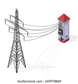 Electric transformer isometric building info graphic. High-voltage power station with electricity pylon. Old plant architecture. Pictogram industrial electricity set. Isolated vector illustration.