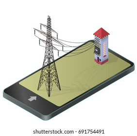 Electric transformer isometric building in mobile phone. High-voltage power station, electricity pylon, communication technology paraphrase. Industrial electricity set. Isolated vector illustration.