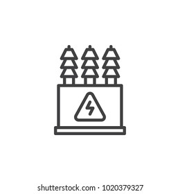 Electric transformer line icon, outline vector sign, linear style pictogram isolated on white. High voltage power station symbol, logo illustration. Editable stroke