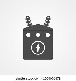 Electric transformer vector icon sign symbol
