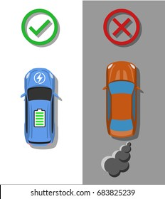 Electric transport concept. Electric car with usual combustion cars comparison. Zero pollution transport. Top view. Flat style. Vector illustration.