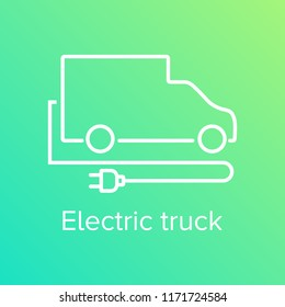 Electric truck illustration with power tap and text. Futuristic and eco friendly van design for logistic and delivery.