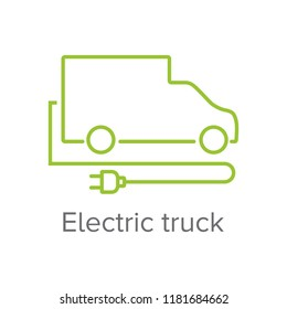 Electric truck sign with modern car outline and electric plug. Eletric transportation icon.