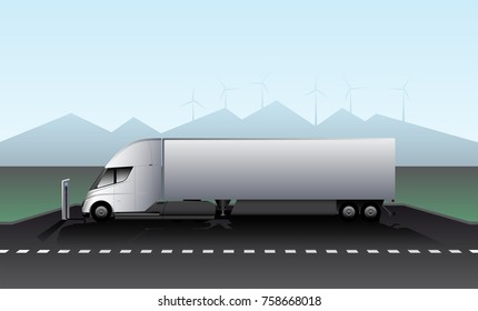 Electric truck with trailer is charged at the charging station on the highway. Vector illustration EPS 10