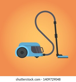 electric vacuum cleaner icon household equipment home appliances concept flat