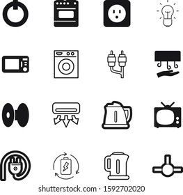 electric vector icon set such as: energy-saving, entertainment, voltage, invention, classic, audio, low-energy, atmosphere, abstract, linear, industrial, laundry, cell, wind, network, antenna, nobody