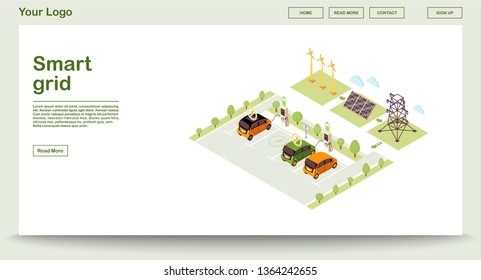 Electric vehicle charge station webpage vector template with isometric illustration. Smart grid. Solar energy production. Renewable power. Website interface design. Webpage, mobile app 3d concept