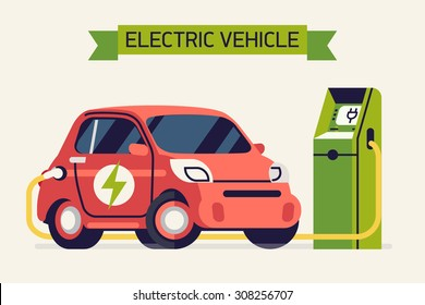 Electric vehicle charging cool concept vector illustration | Small green energy city subcompact microcar plugged in at the power point | Cute and trendy flat illustration on eco friendly transport