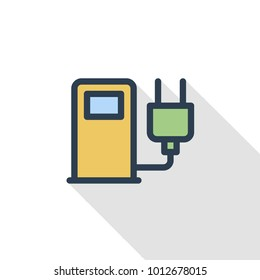 electric vehicle charging station, ecology thin line flat color icon. Linear vector illustration. Pictogram isolated on white background. Colorful long shadow design.